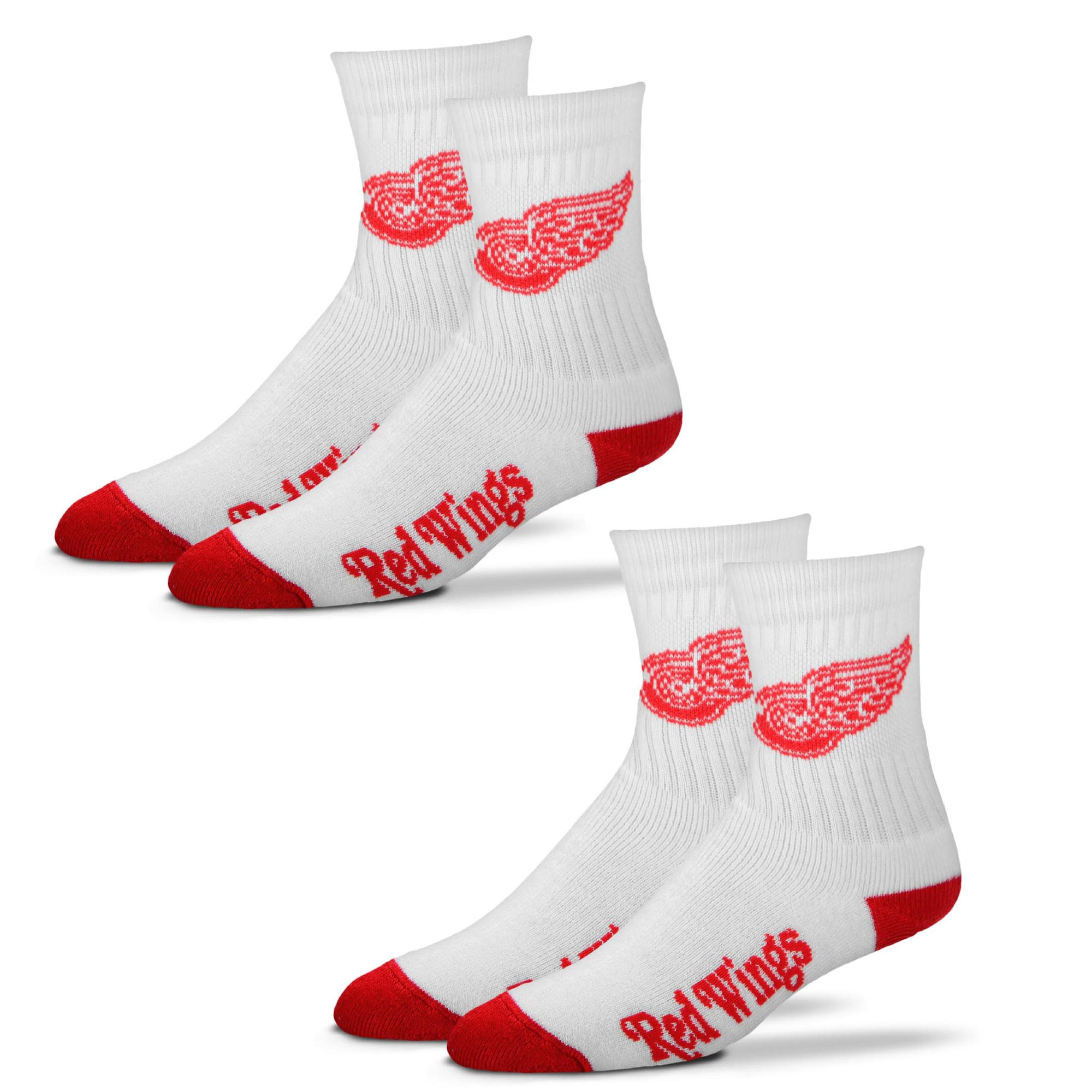 Detroit Red Wings For Bare Feet 2-Pack Quarter-Length Socks - L