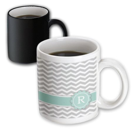 3dRose Letter R monogrammed on grey and white chevron with mint - gray zigzags - personal initial zig zags, Magic Transforming Mug, 11oz