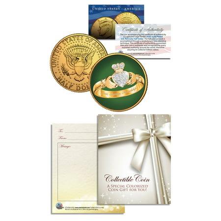 IRISH CLADDAGH RING 24K Gold Plated JFK Kennedy Half Dollar U.S. Colorized Coin