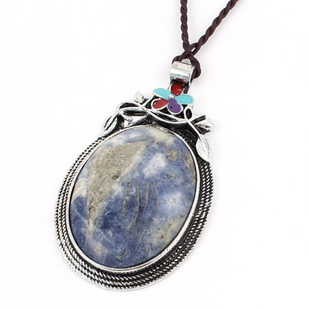 Brown Oval Pendant (Woman Blue Oval Shaped Gemstone Pendant Brown Braided Nylon String Necklace)