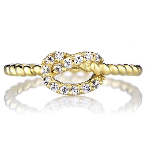 Sterling Silver Cubic Zirconia Love Knot Ring Gold Size 9