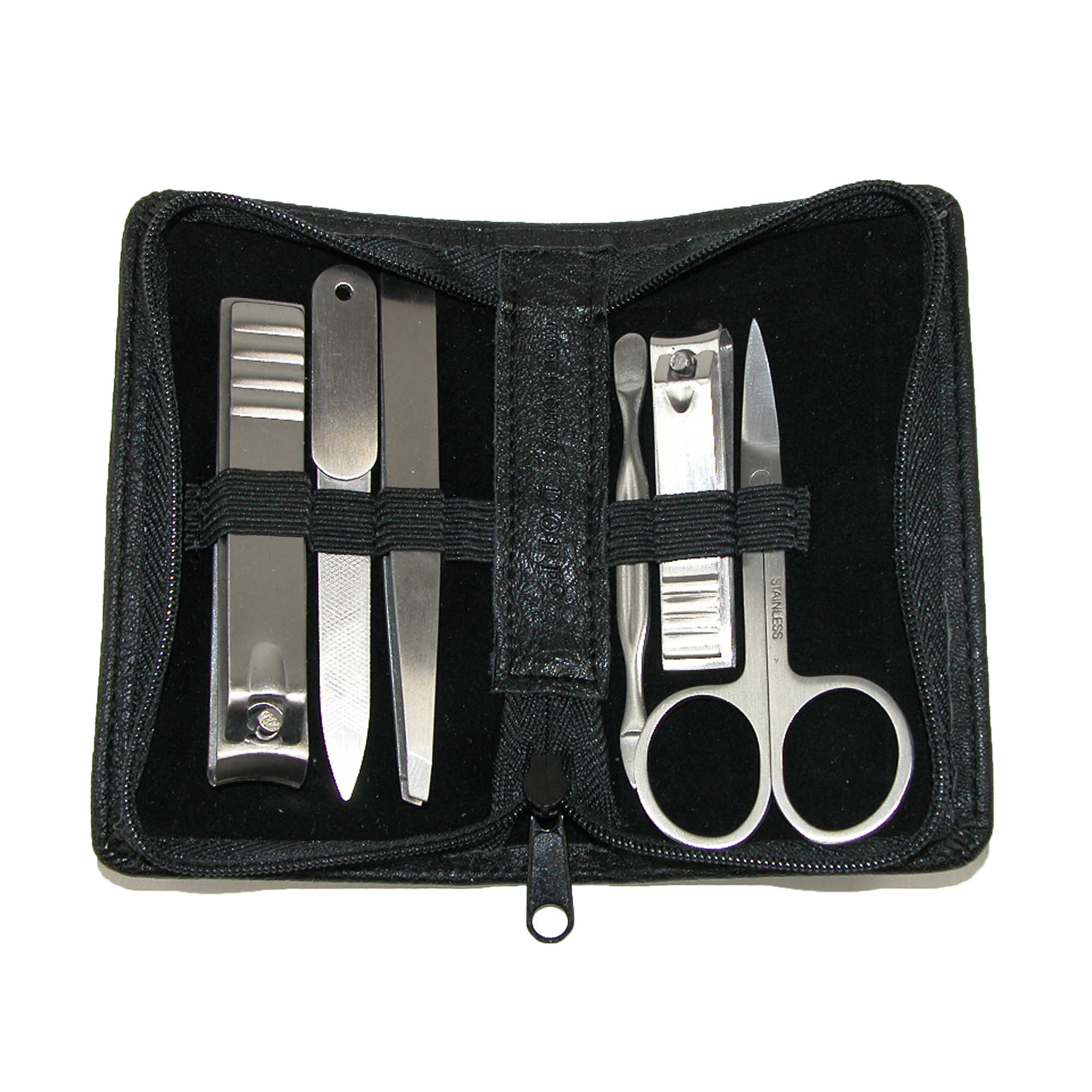 Buxton Men's Faux Leather 6 Piece Travel Manicure Set by Buxton