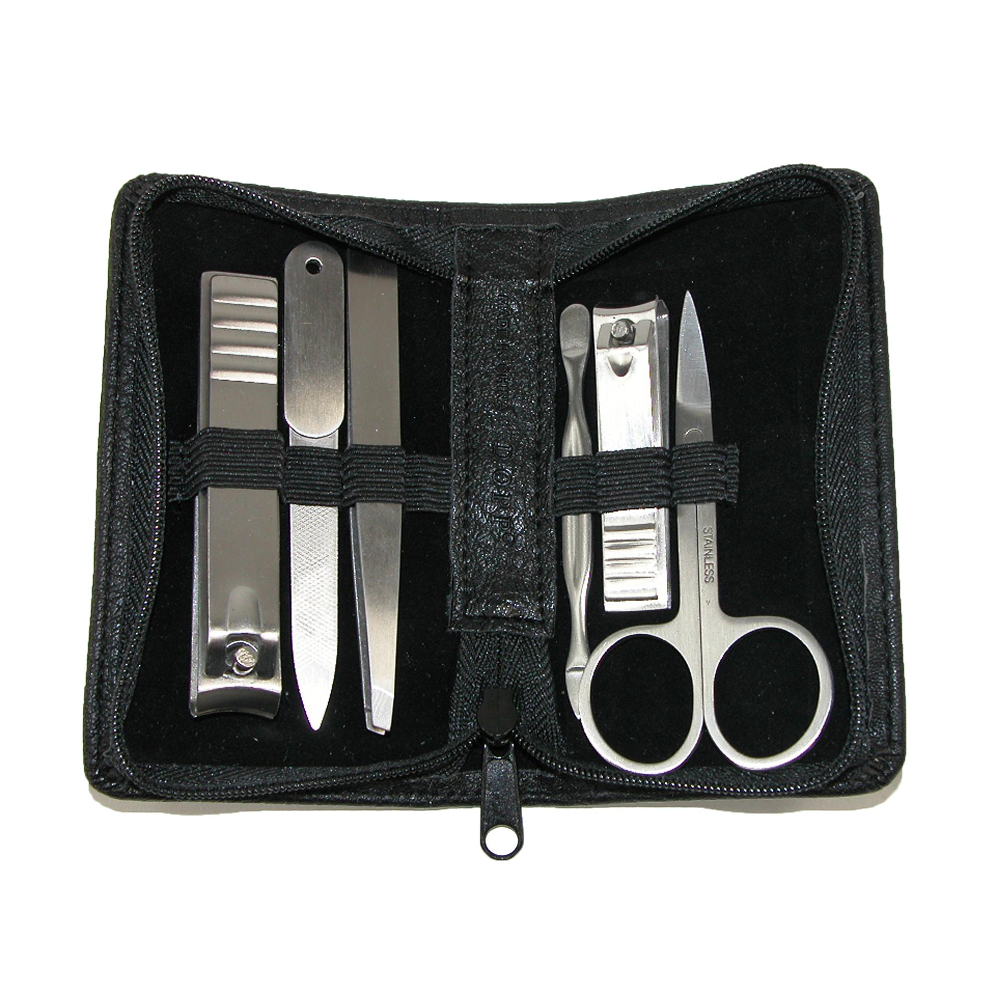 Buxton  Men's Faux Leather 6 Piece Travel Manicure Set