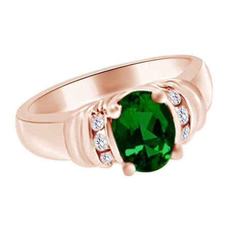 (1.71 cttw) Simulated Green Emerald & White Natural Diamond Engagement Ring In 14k Rose Gold With Ring Size -4 Ct Tw Diamond Emerald Ring