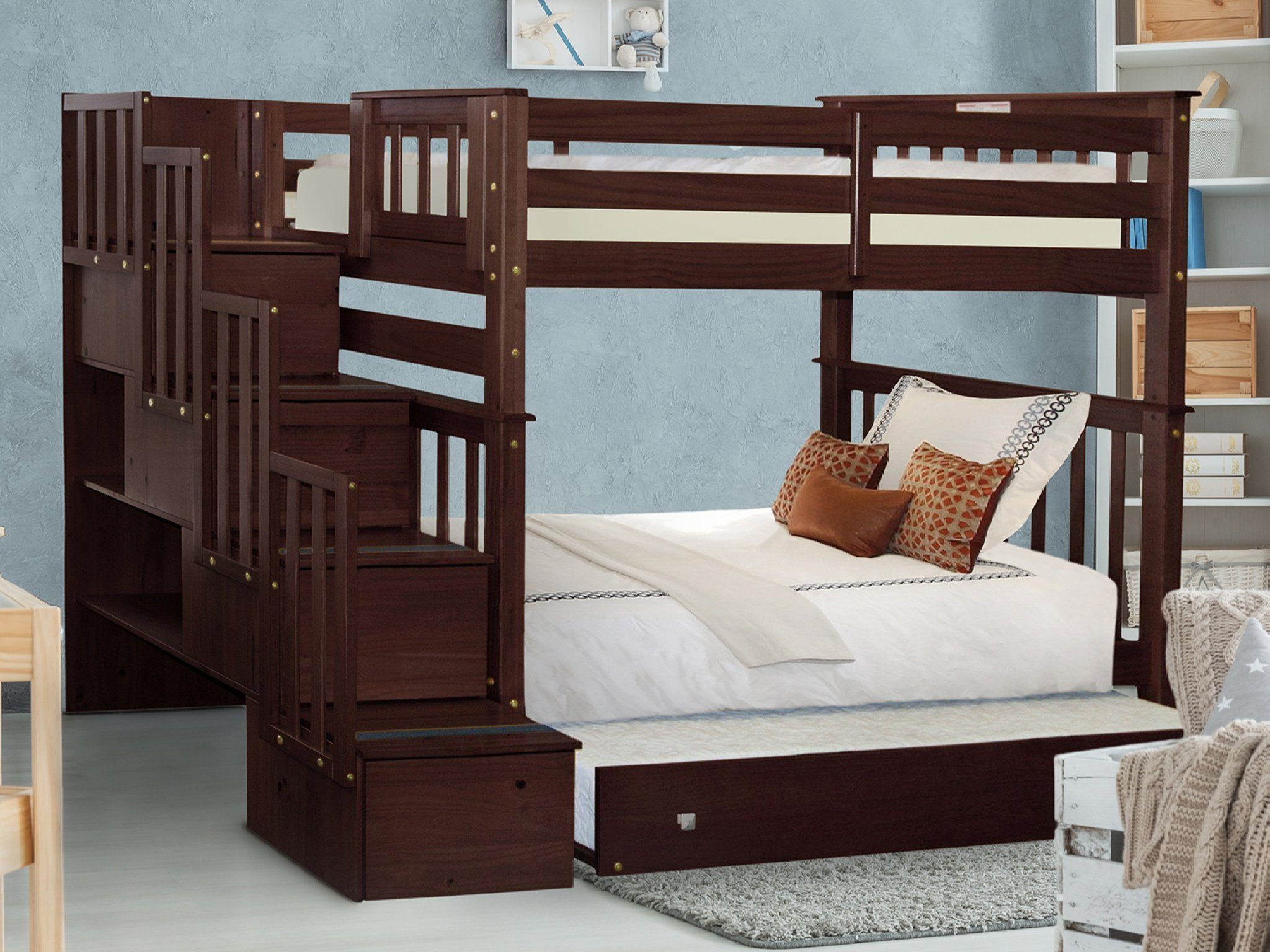 Kids Furniture Cappuccino Bedz King Stairway Bunk Beds Twin Over Full With 4 Drawers In The Steps And A Trundle Home Kitchen