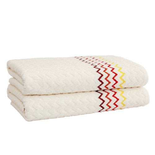 Linum Home Textiles Montauk 2-Piece Zig Zag Bath Towel