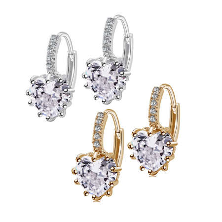 - CLEARANCE - Heart Shaped Diamond CZ Solitaire Hoop Earrings Get Both Discounted