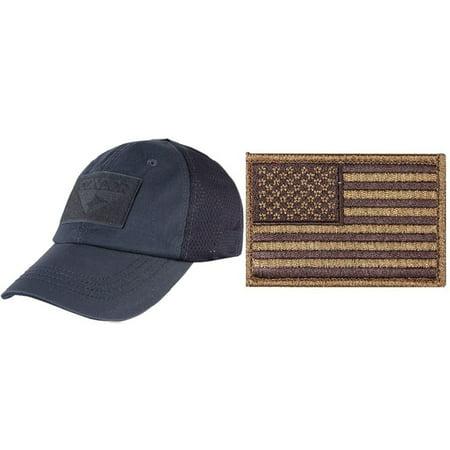 Condor Mesh Navy Blue Cap + USA FLAG PATCH COYOTE LEFT - Walmart.com 2b081b99bee