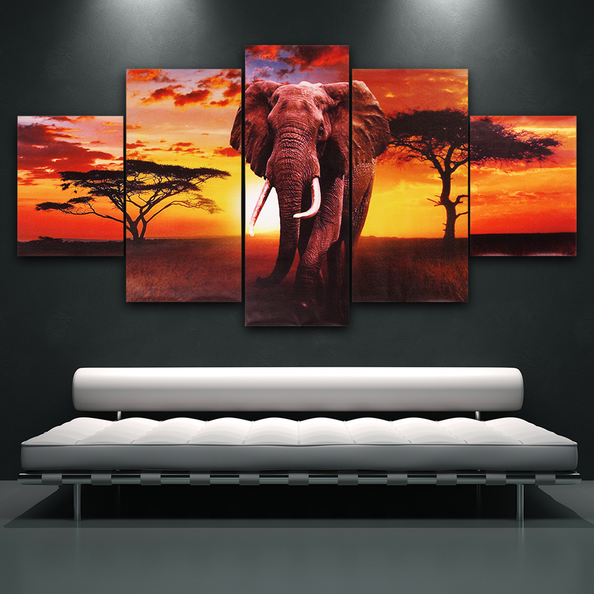 5in1 Modern Unframed Abstract Elephant Canvas Painting Picture Decorative Home Wall Decor