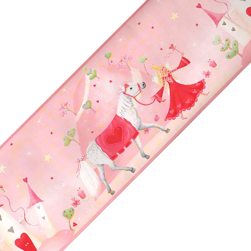 Pink Fairy Princess Castle Prepasted Wall Border Roll