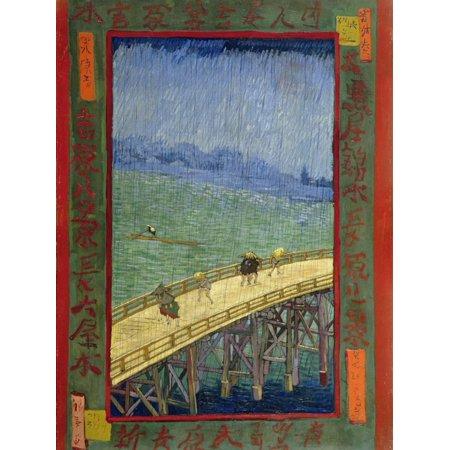 Asian Landscape Design (Bridge in the Rain (After Hiroshige) Asian Landscape Architecture Art Print Wall Art By Vincent van)