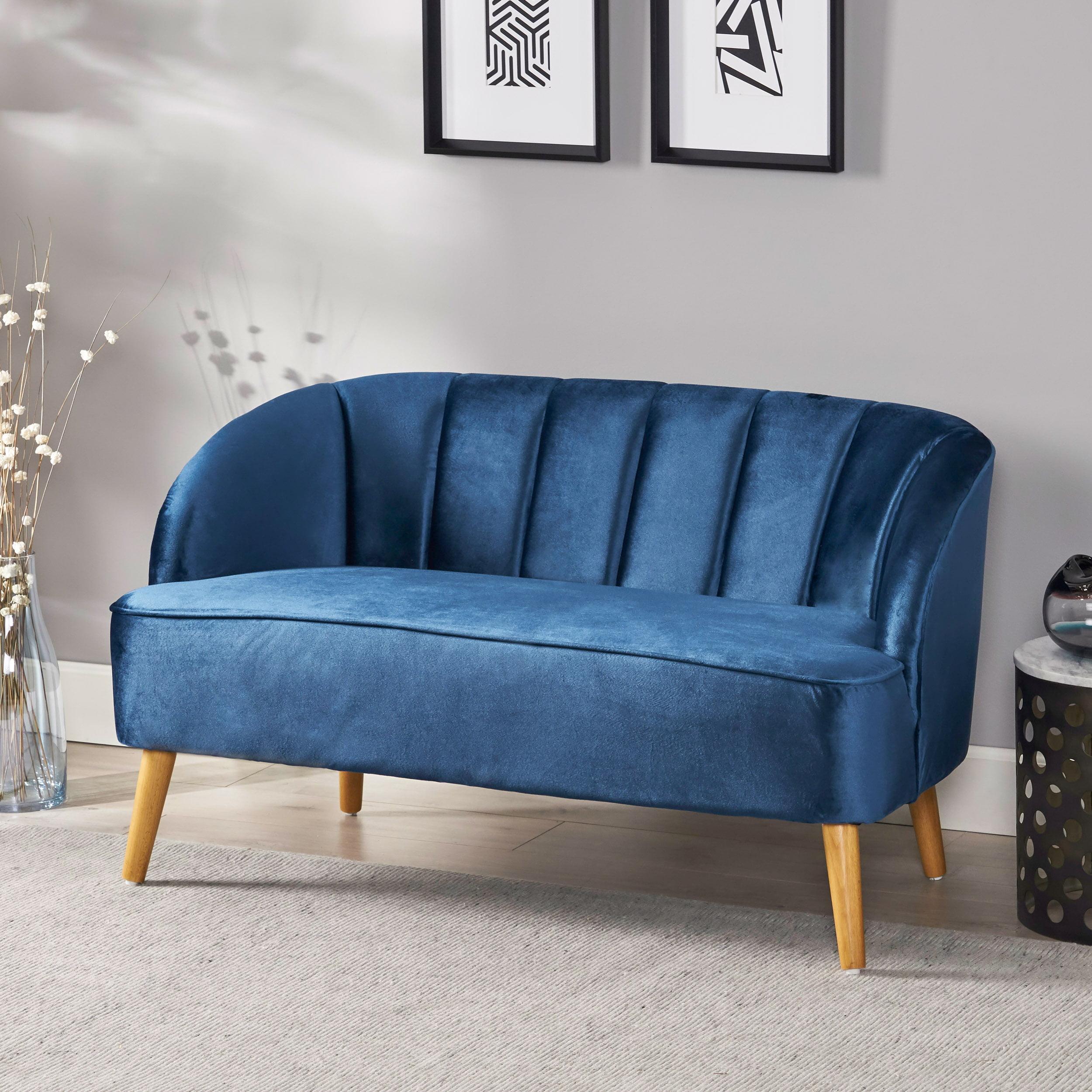 Scarlett Mid Century Modern Velvet Sofa With Seashell Backrest Cobalt And Walnut Walmart Com Walmart Com