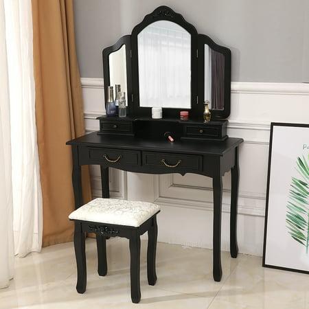 Zimtown Tri Folding Mirror Wood Vanity Set Bedroom Vanities Makeup Table Dresser 4 Drawers with Stool ()