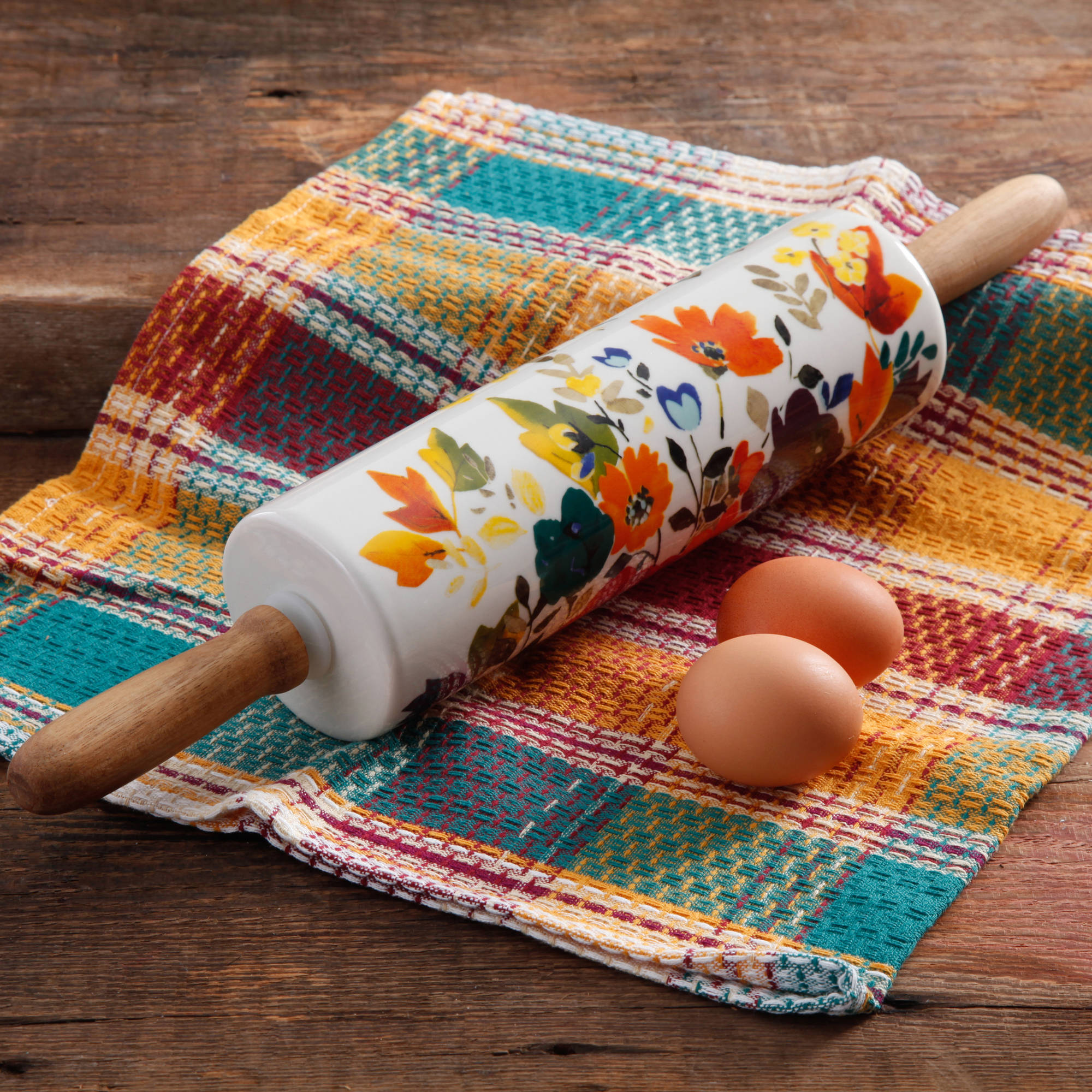 The Pioneer Woman Floral Rolling Pin Pastry Bake Fondant Ceramic Baking Roller