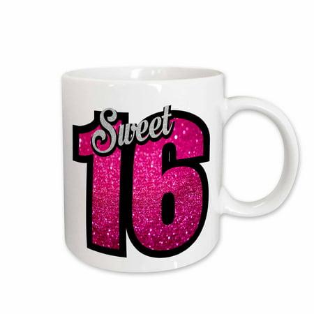 3dRose Sweet Sixteen with Pink Glitter for Birthday Girl Women Gift Happy - Ceramic Mug, (Best Sweet 16 Ideas)