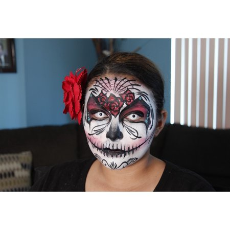 LAMINATED POSTER Girl Halloween Sugar Skull Make-up Face Painting Poster Print 24 x 36 - Painting A Skull Face For Halloween