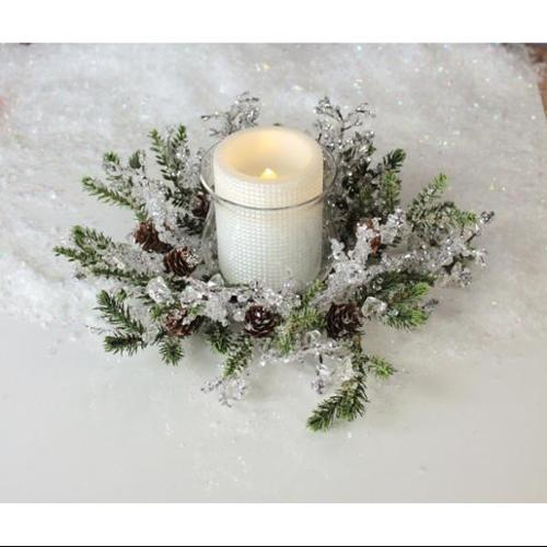 Pack of 3 Iced Artificial Pine Candle Rings with Glass Candle Holders 12""