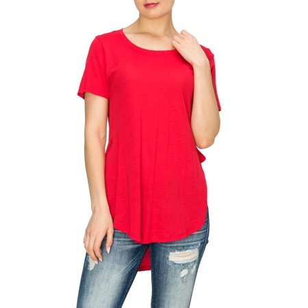 Salt Tree Women's Scoop Neck Short Sleeves Side Split Contour Knit (Rose Knit Top)