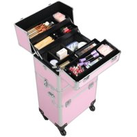 ($85 Value) SmileMart Professional Makeup Case, 3 in 1 Trolley, Pink