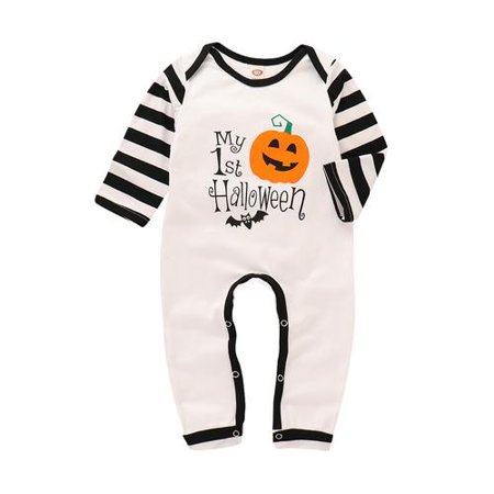 Cute Baby Halloween (Cottcuboaba Cute Toddler Infant Baby Boys Girls Halloween Pumpkin Printing Long Sleeve Bodysuit)