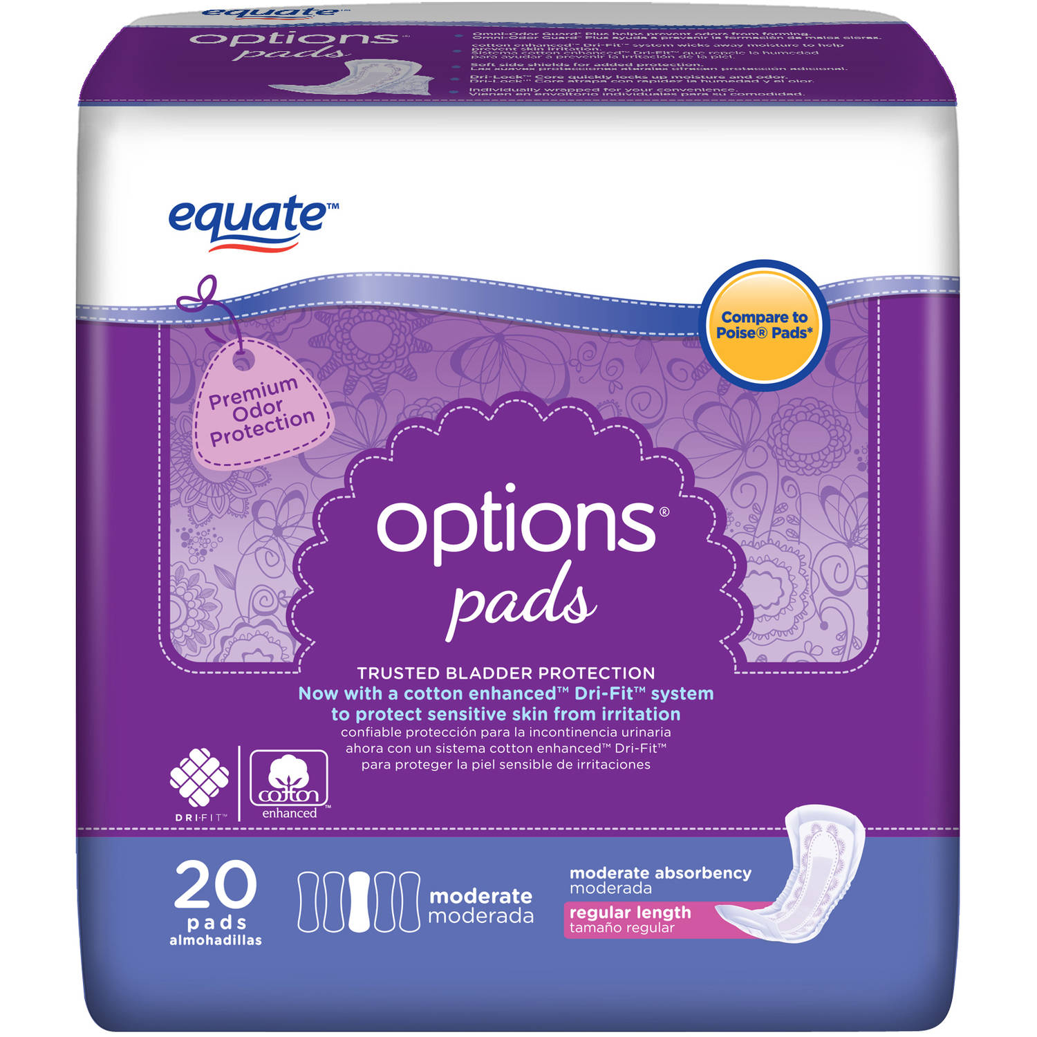 Equate Options Moderate Bladder Control Pads, 20 count
