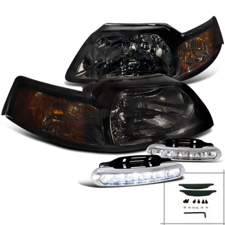 Spec-D Tuning For 1999-2004 Ford Mustang Gt Cobra Smoke Headlights + Led Driving Fog Lamps Pair (Left+Right) 1999 2000 2001 2002 2003