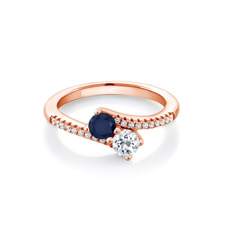 0.92 Ct Round Blue Sapphire White Topaz 18K Rose Gold Plated Silver Bypass Ring