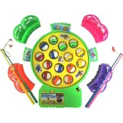 Kids Fishing Game Toy Pole and Rod Sets Fish Board Rotating with Music On/Off Switch for Quiet Play, Fishing Game Fine Motor Skill Training Gift for Children Kids Color Random