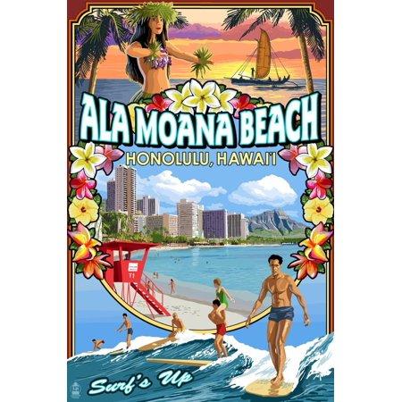 Ala Moana Beach - Honolulu, Hawai'i - Montage Scene Print Wall Art By Lantern (Ala Moana Center Honolulu)