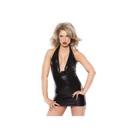 Alluring Kitten Dress by Allure Leather 17-1062K Black One Size Fits All, One Size Fits All
