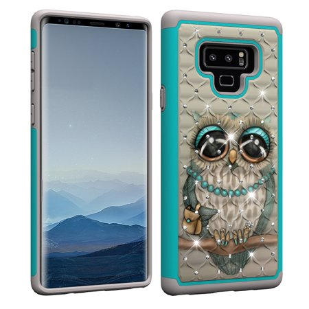 Galaxy Note 9 Case, Allytech Silicone Rubber Dual Layer Shock Absorption Fashion Luxury Full Body Protective Dust Proof Girls Women Case Cover for Samsung Galaxy Note 9, Cute Owl (Samsung Galaxy Note 2 Covers Owls)