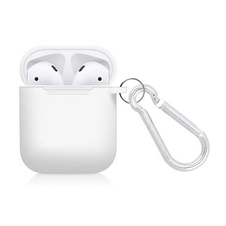 Apple Airpods Silicone Cover Charger Desktop Charging Headphones Earbuds Accessories for Airpod 1st & 2nd Generation Charger Silicone Rubber TPU Case Cover WHITE color with Carabiner Clip