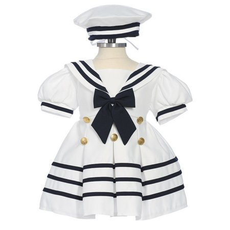Little Girls White Navy Bow Dress Hat Sailor Outfit (Sailor Patriotic Dress)