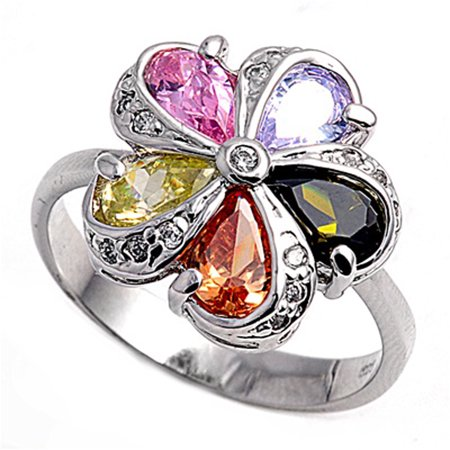Multicolor Simulated CZ Colorful Teardrop Flower Ring ( Sizes 5 6 7 8 9 ) .925 Sterling Silver Band Rings by Sac Silver (Size 7)