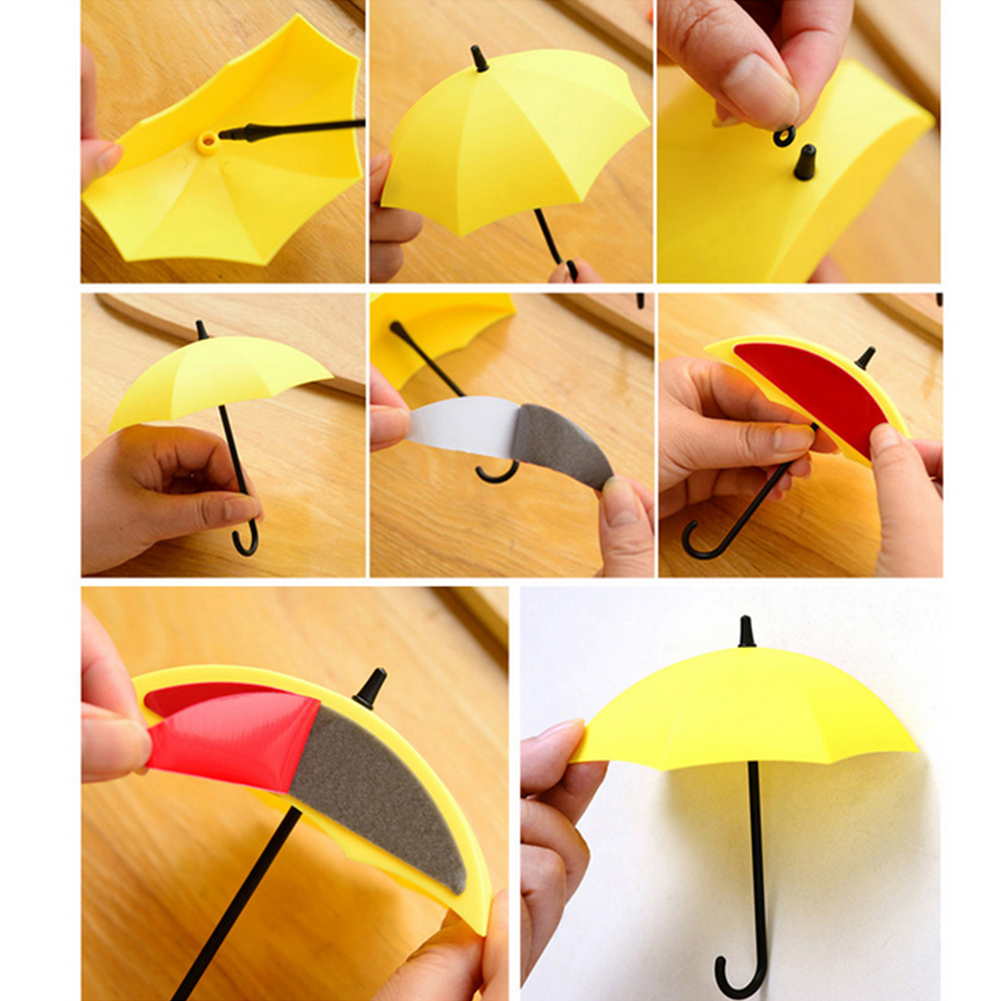 Girl12Queen 3Pcs Colorful Umbrella Wall Hook Key Hanging Hair Pin ...