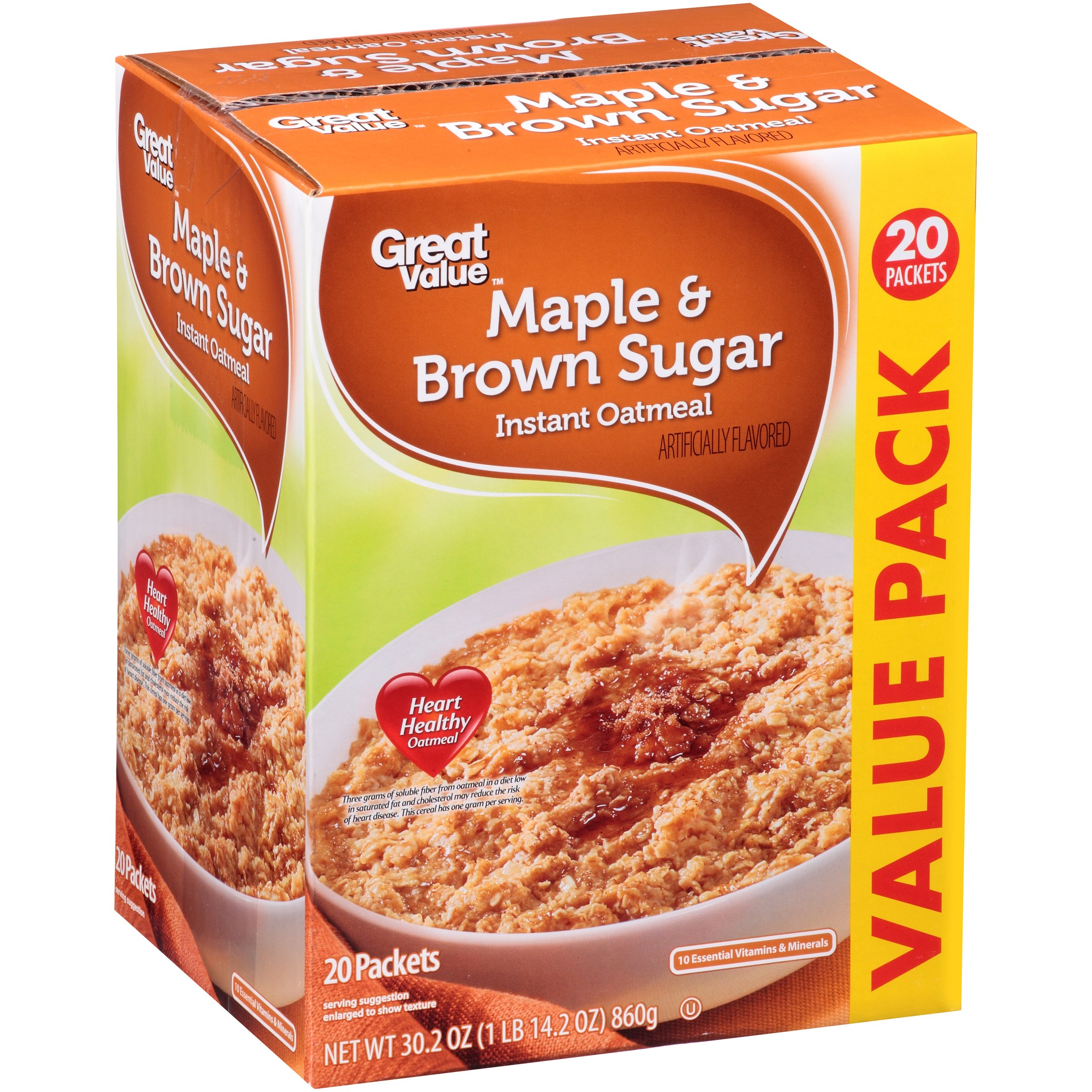 Great Value Instant Oatmeal, Maple & Brown Sugar, 30.2 Oz, 20 Ct