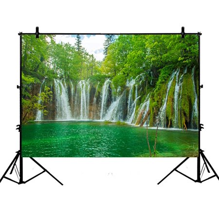 PHFZK 7x5ft Nature Scenery Backdrops, Beautiful Waterfall in Plitvice Lakes National Park in Croatia Photography Backdrops Polyester Photo Background Studio Props