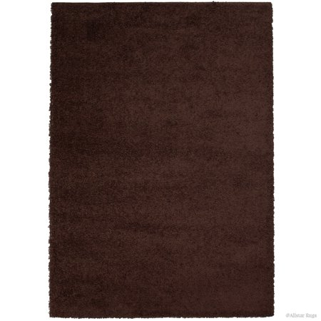 Allstar Modern Contemporary Chocolate High Pile Posh and Shaggy Solid Area Rug (7' 9