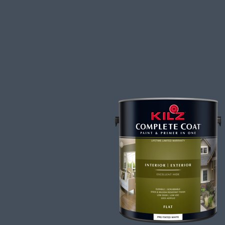 - KILZ COMPLETE COAT Interior/Exterior Paint & Primer in One #RD100-02 Prussian Blue
