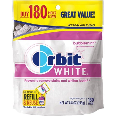 (2 Pack) Orbit Gum White, Bubblemint Sugarfree Chewing Gum, Resealable Bag, 8.5 Oz 180 Pieces
