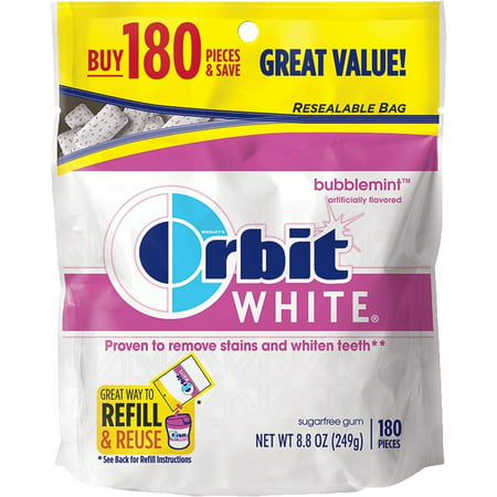 Dieters Gum ((2 Pack) Orbit Gum White, Bubblemint Sugarfree Chewing Gum, Resealable Bag, 8.5 Oz 180)