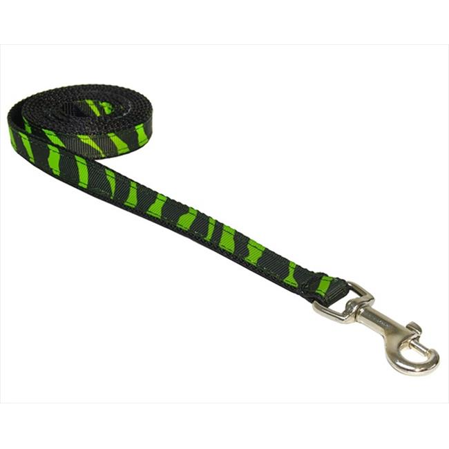 ZEBRA-GREEN-BLK.1-L 4 ft. Zebra Dog Leash, Green & Black - Extra Small