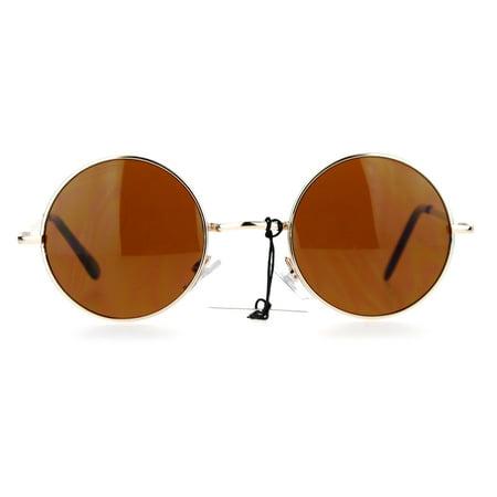SA106 Retro 70s Hippie Round Circle Brown Lens Sunglasses Gold