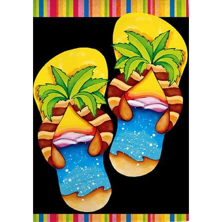 Island Flip Flops Summer Garden Flag Beach Ocean Palm Tree Sand Surf 12.5