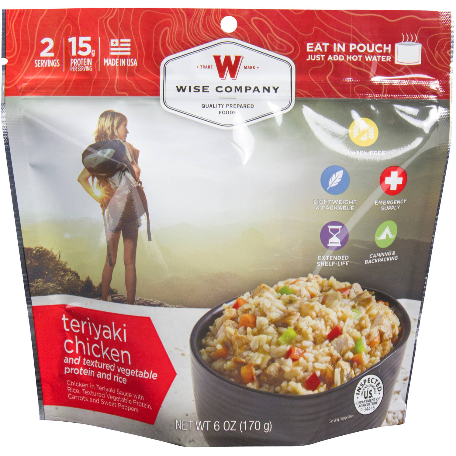 Wise Company Teriyaki Chicken & Textured Vegetable Protein and Rice Prepared Meal, 6 oz