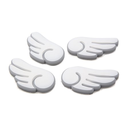 (4 Pcs White Wing Design Door Edge Guard Sticker Protector Decor for Car Vehicle)