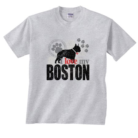 I Love My Boston Terrier Dog Paw T-Shirt