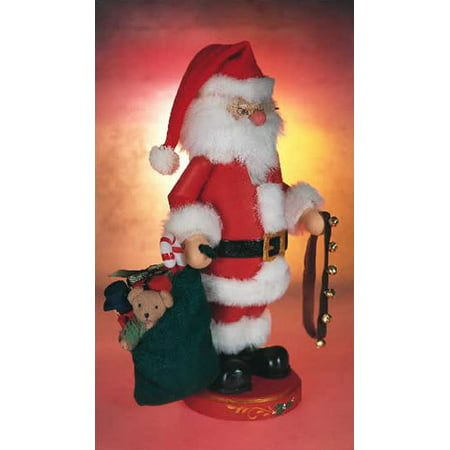 Zim's Heirloom Collectible Santa with Bells 13 Inch Wooden Christmas Nutcracker