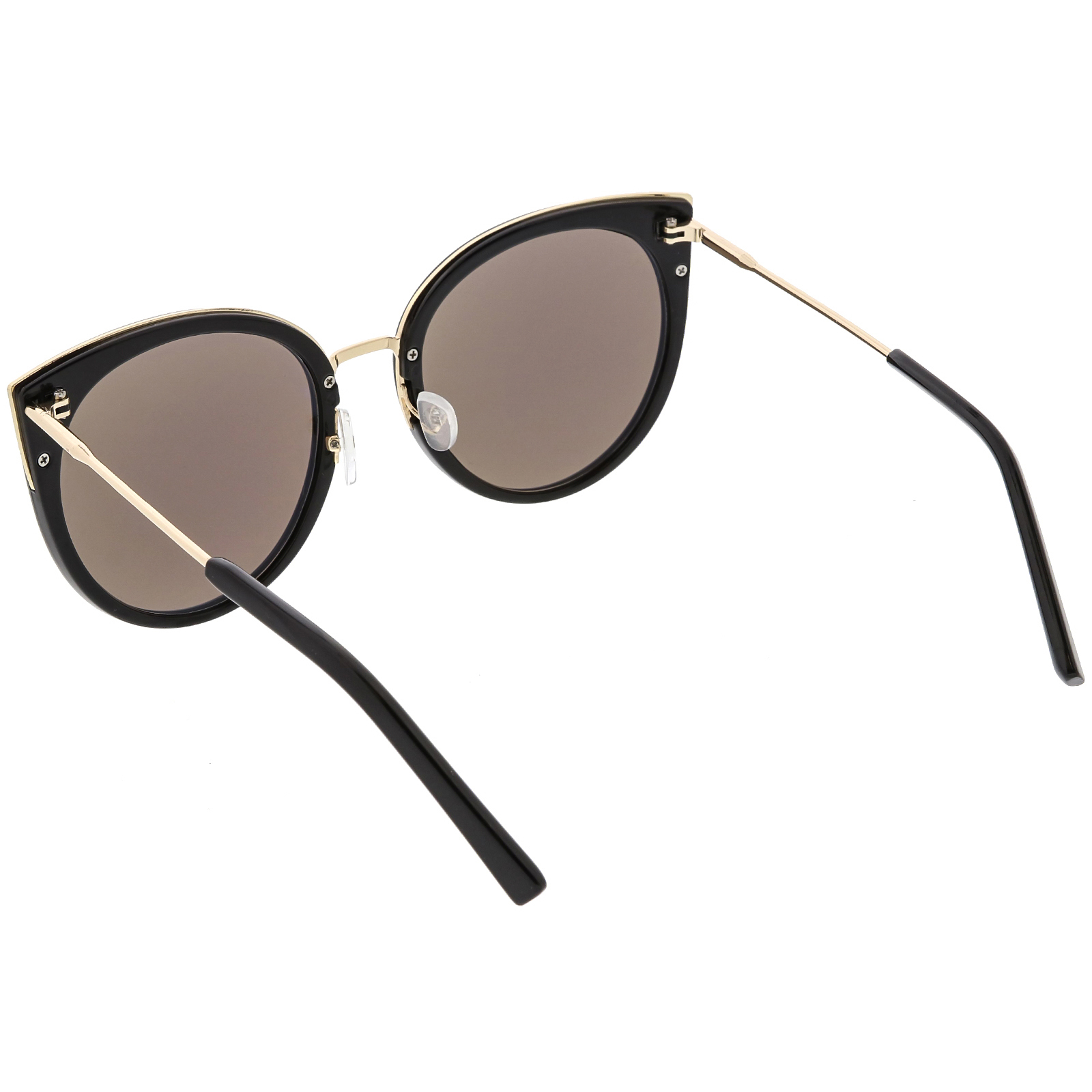 c6a9c0190a83a sunglassLA - Women s Oversize Cat Eye Sunglasses Round Colored Mirror Lens  55mm (Creme   Gold Mirror) - Walmart.com