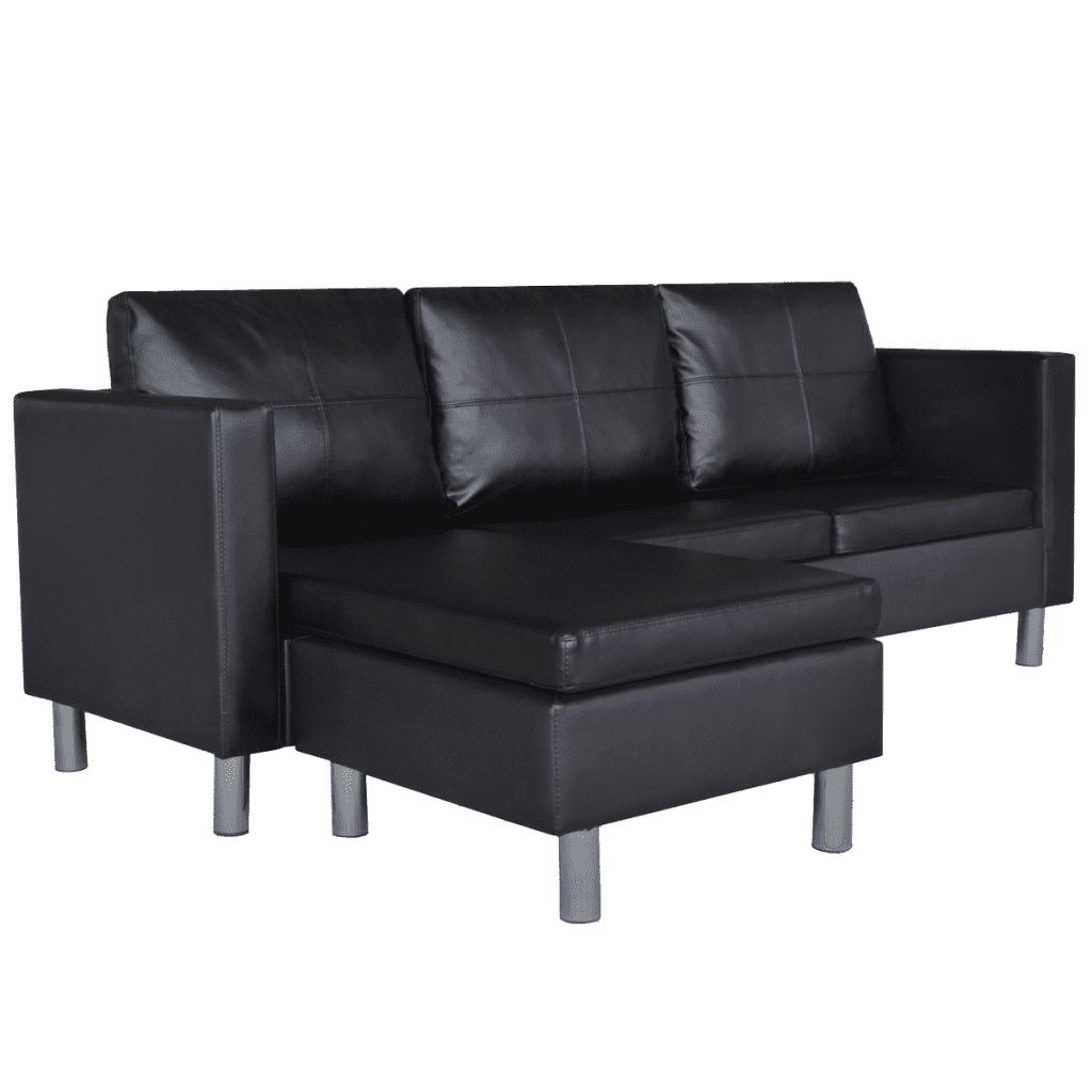 buy popular 20d20 56a62 vidaXL 3-Seater L-shaped Artificial Leather Sectional Sofa Black